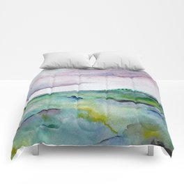 """""""337"""" abstract watercolor landscape Comforters"""