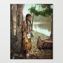 Native American Little Girl Canvas Print