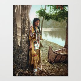 Native American Little Girl Canvas Print