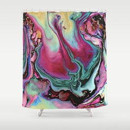Colorful abstract marbling Shower Curtain