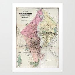 Vintage Map of Bridgeport CT (1867) Art Print