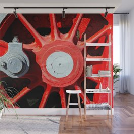 Grunge Red Wheel And White Driving Rod Of A Vintage Steam Engine Locomotive Wall Mural