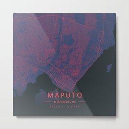 Maputo, Mozambique - Neon Metal Print
