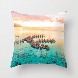 Bora bora Tahiti honeymoon beach resort vacation Throw Pillow