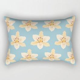 Day Lily Illustrative Pattern on Light Blue Rectangular Pillow