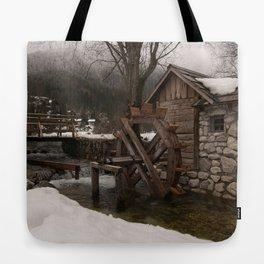 Winter Water Mill At Lake Jasna Tote Bag