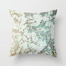 spring mediterranean almond flowers - golden orange Throw Pillow