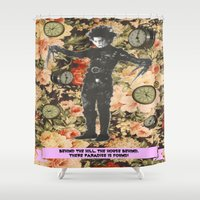 thrones Shower Curtains featuring There, paradise is found! by Laura Nadeszhda