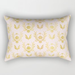Luxe Rose Gold Foil Floral Lattice Seamless Vector Pattern, Drawn Damask Rectangular Pillow