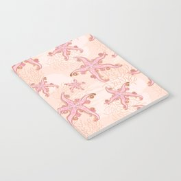 Starfish and Coral Pink Pastel Pattern Notebook