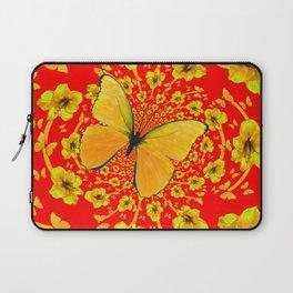 BUTTERFLIES RED  AMARYLLIS FLOWERS ABSTRACT ART Laptop Sleeve