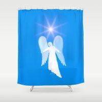 angel Shower Curtains featuring Angel by JT Digital Art