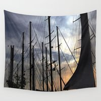 sailing Wall Tapestries featuring sailing by gzm_guvenc