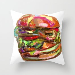 Hamburger Rainbow Throw Pillow