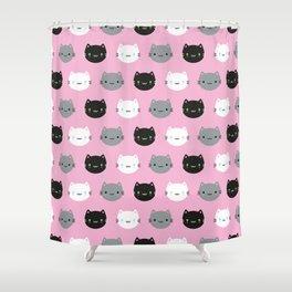 Cute Cats & Kawaii Kittens (Pink) Shower Curtain