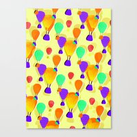 hot air balloons Canvas Prints featuring Hot Air Balloons (Yellow) by Ingrid Castile