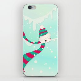 Christmas Peekaboo Snowman I - Mint Blue Snowy Background iPhone Skin