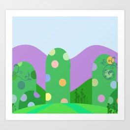 Cute landscape green  Art Print