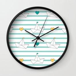 cute cartoon paper boats seamless pattern background illustration Wall Clock