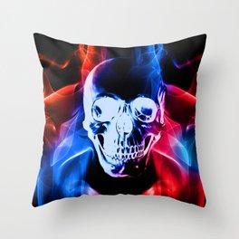 Smokey Skull Throw Pillow