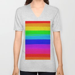 Modern rainbow brushstrokes paint striped pattern Unisex V-Neck
