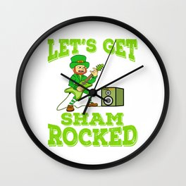 "Guys! Have This St. Patrick's Tee Saying ""Let's Get Sham Rocked!"" T-shirt Design Irish Four-Cleaf Wall Clock"