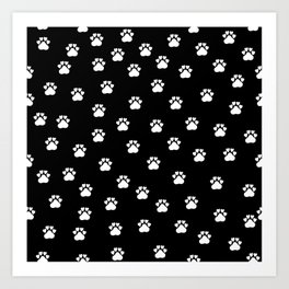 Cat's hand drawn paws in black and white Art Print