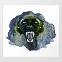 Watercolor Panther Art Print