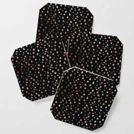 Black & Rose Gold Star Pattern Coaster