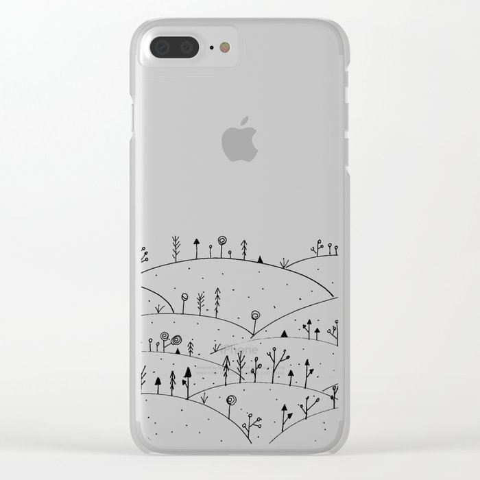 Landscape Doodle Art Clear iPhone Case