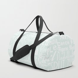 Pastel Blue Figure Skating Subway Style Typographic Design Duffle Bag