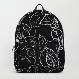 Original graphic art, flowers, white ink Backpack