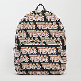 Texas, USA Trendy Rainbow Text Pattern (Black) Backpack