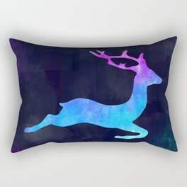 DEER LEAPING IN SPACE // Animal Graphic Art // Watercolor Canvas Painting // Modern Minimal Cute Rectangular Pillow
