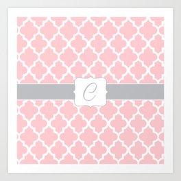 "Light Pink Moroccan Quatrefoil Pattern with ""C"" Monogram Art Print"