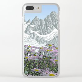 PURPLE DAISIES TALL MOUNTAIN PEN DRAWING PHOTO HYBRID Clear iPhone Case