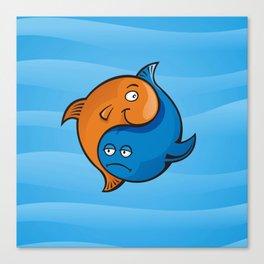 Yin Yang Fish Cartoon Canvas Print