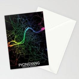Pyongyang, North Korea, City, Map, Rainbow, Map, Art, Print Stationery Cards