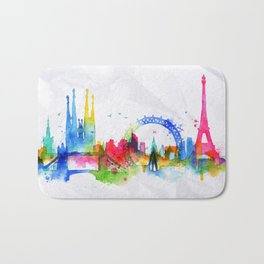 Silhouette overlay city Paris Bath Mat