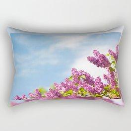 Lilac pink inflorescences grow in garden Rectangular Pillow