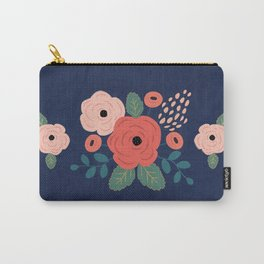 Flower Pattern, Pink Red Flowers on Blue, Vintage, Floral Carry-All Pouch