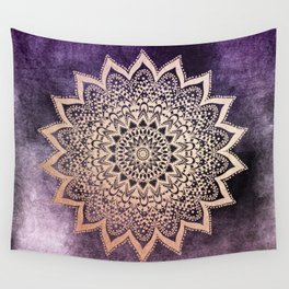 GOLD NIGHTS MANDALA IN PURPLE Wall Tapestry