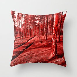 Red Forest Sound Throw Pillow