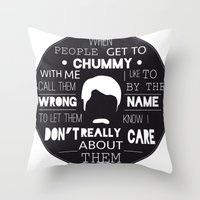 ron swanson Throw Pillows featuring RON SWANSON by Edna Andrade