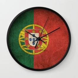 Old and Worn Distressed Vintage Flag of Portugal Wall Clock