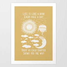 Moon Sun & Balloon Vintage Folkart Illustration / Typography Art Print