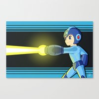 mega man Canvas Prints featuring Mega Man by Kyra Draws
