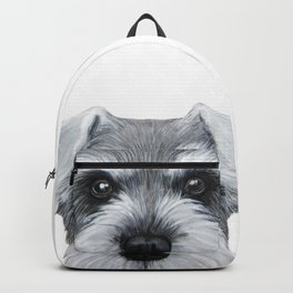Schnauzer Grey&white, Dog illustration original painting print Backpack
