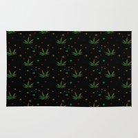 marijuana Area & Throw Rugs featuring Crazy Marijuana Leaves by NataliSven