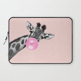 Bubble Gum Sneaky Giraffe Pink Laptop Sleeve